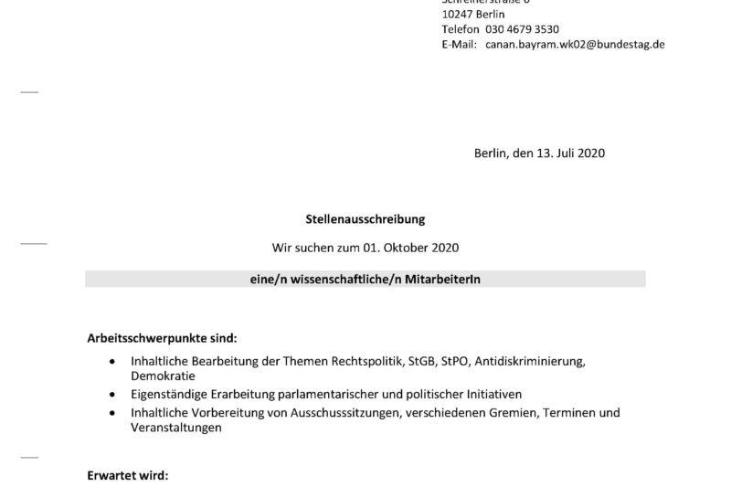 Stellenausschreibung WiMi Bundestagsbüro